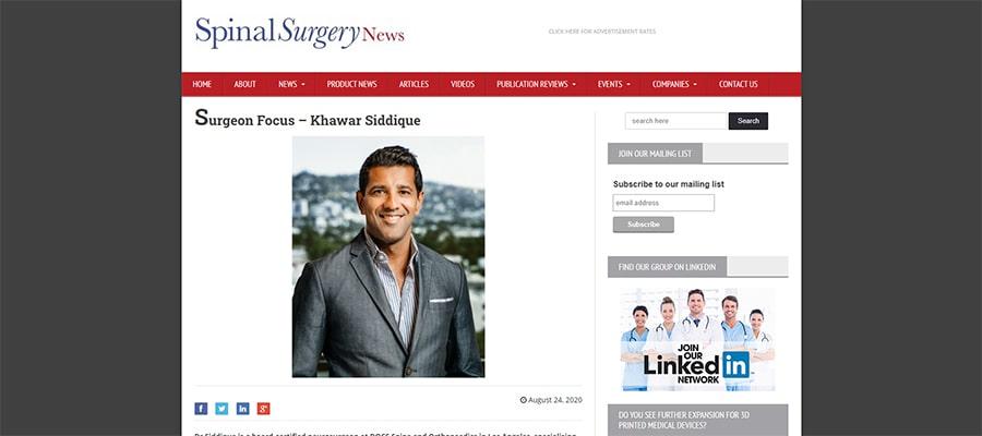 Screenshot of the article titled: Surgeon Focus – Khawar Siddique