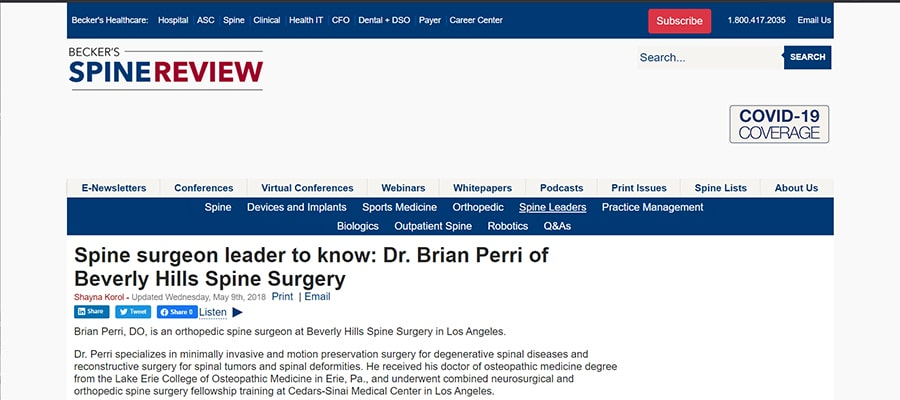 Screenshot of the article titled: Spine surgeon leader to know: Dr. Brian Perri of Beverly Hills Spine Surgery
