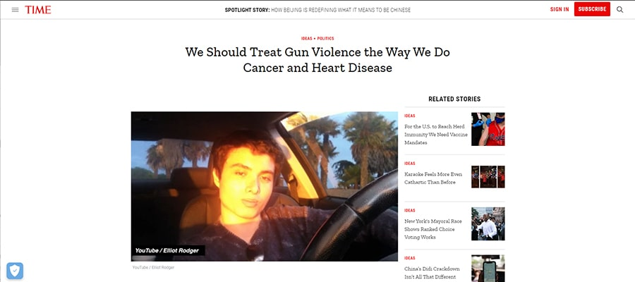 Screenshot of the article titled: We Should Treat Gun Violence the Way We Do Cancer and Heart Disease