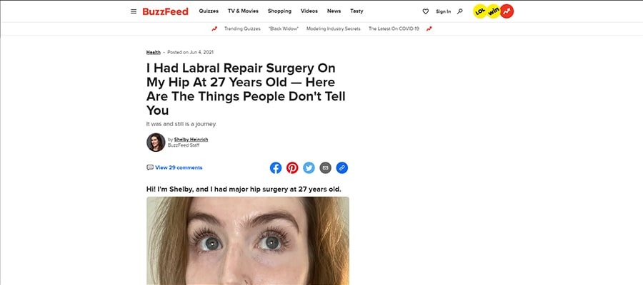 Screenshot of the article titled: I Had Labral Repair Surgery On My Hip At 27 Years Old — Here Are The Things People Don't Tell You