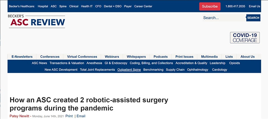 Screenshot of the article titled: How an ASC created 2 robotic-assisted surgery programs during the pandemic
