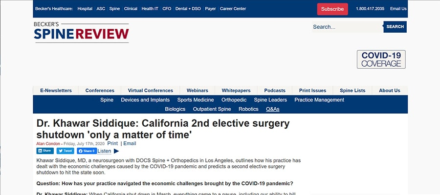 Screenshot of the article titled: Dr. Khawar Siddique: California 2nd elective surgery shutdown 'only a matter of time'
