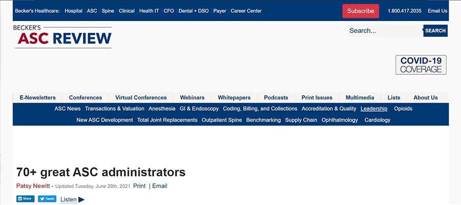 Screenshot of the article titled: 70+ great ASC administrators