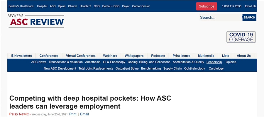 Screenshot of the article titled: Competing with deep hospital pockets: How ASC leaders can leverage employment