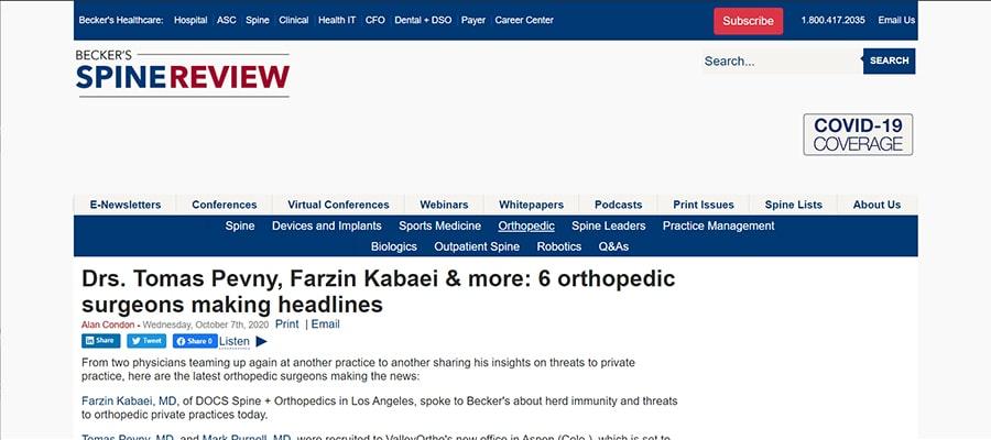 Screenshot of the article titled: Drs. Tomas Pevny, Farzin Kabaei & more: 6 orthopedic surgeons making headlines