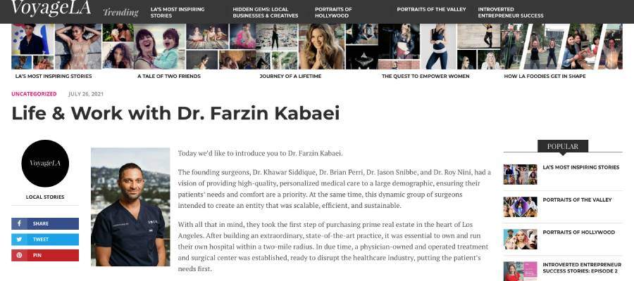 Screenshot of the article titled: Life & Work with Dr. Farzin Kabaei
